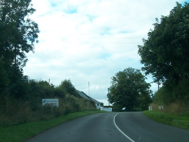 Bend in R162 just south of the Gyprock Plant at Kingscourt