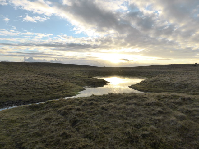 Upland pool on Aberedw Hill catching the sunset