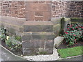 SJ4069 : Bench mark and bolt on Holy Ascension Church, Upton by Chester by John S Turner