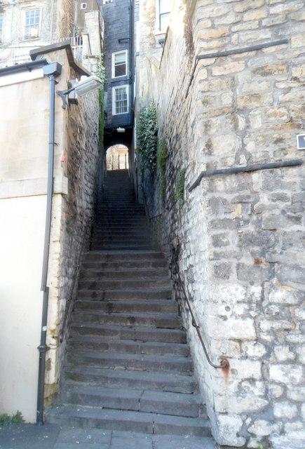 Steps up from Walcot Street, Bath