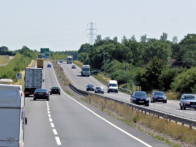 Eastbound A14 near Keyston