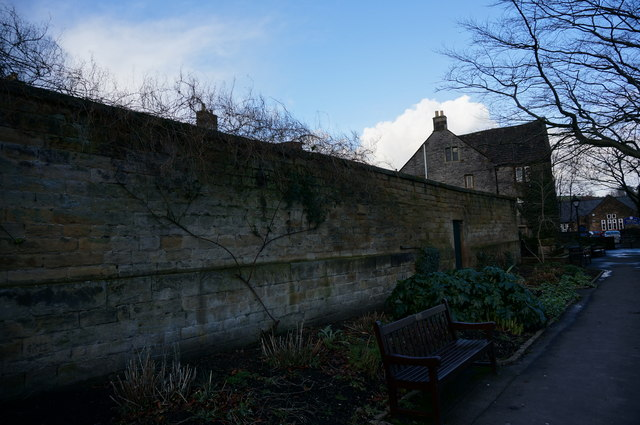 Wall on west side of Bath Gardens, Bakewell