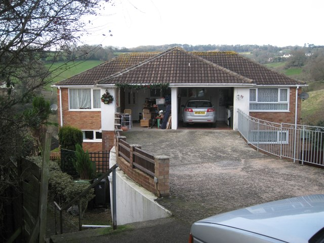 Semi-detached house on a steep slope, Bligh Close, Teignmouth