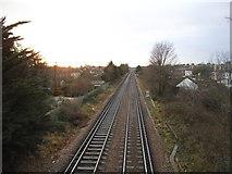 TQ2075 : Railway line heading west, Mortlake by David Howard