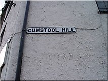 ST8993 : Old sign for Gumstool Hill Tetbury by Paul Best