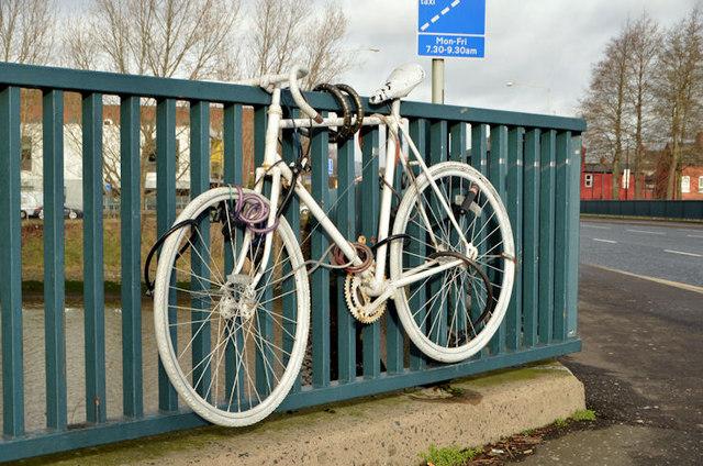 White bicycle, Ormeau Bridge, Belfast