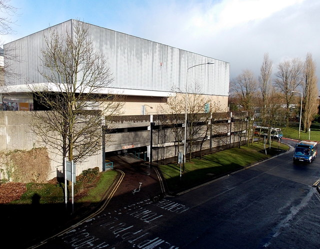 Tudor Road exit from a Cwmbran Shopping Centre car park