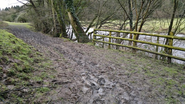 A muddy path beside the River Dove