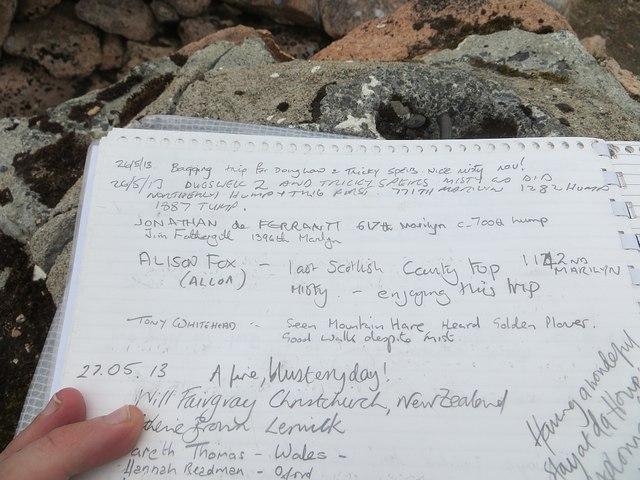 Summit register, Ronas Hill