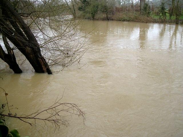 Turbulence, River Avon by Emscote Gardens, Warwick 2014, January 30, 13:44