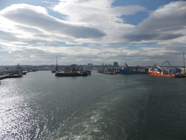 Aberdeen: across the harbour from the departing ferry