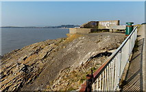 ST1166 : Cliff edge bench and litter bin, Barry Island by Jaggery