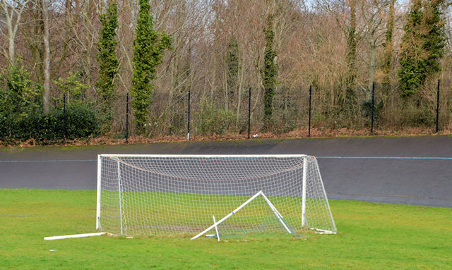 Goalposts and cycle track, Orangefield Park, Belfast