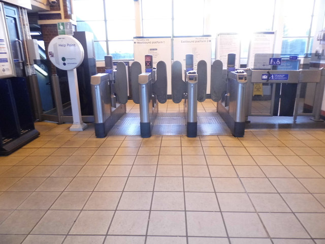 The ticket barrier at Boston Manor Station