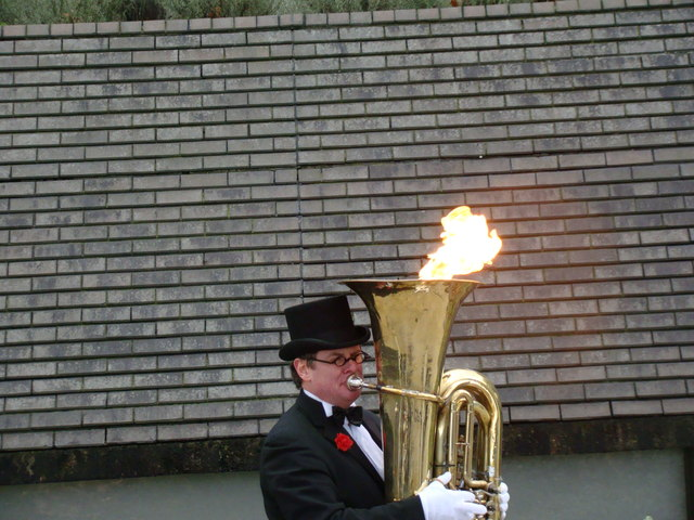 This tuba player is on fire!