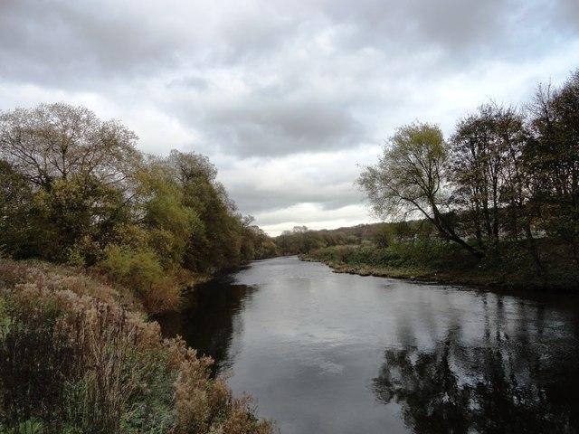 View downriver near Crook Hall