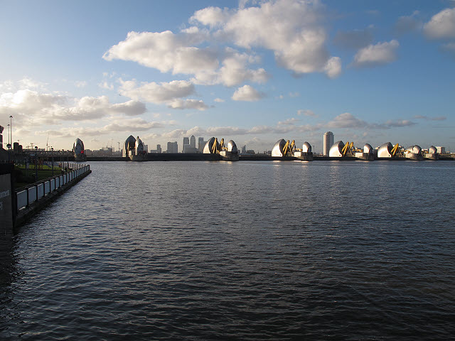 Thames Barrier closed, downstream