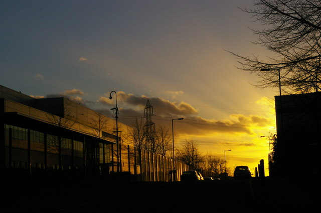 Sunset over the logistics depots, Greenland Way, Croydon