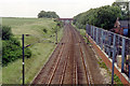 SK7471 : Southward up the ECML at site of Tuxford North station, 1992 by Ben Brooksbank