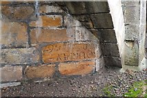 NT2540 : Upside-down stone in Tweed Bridge, Peebles by Jim Barton