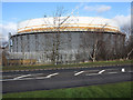 NZ2027 : Gasometer at Bishop Auckland by Trevor Littlewood