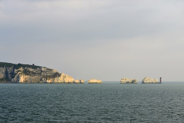West High Downs, The Needles and the Needles Lighthouse, Isle of Wight, viewed from P&O's Adonia - 1