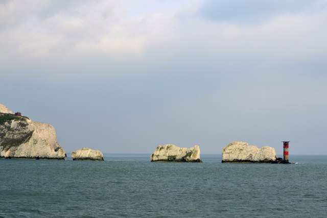West High Downs, The Needles and the Needles Lighthouse, Isle of Wight, viewed from P&O's Adonia - 2