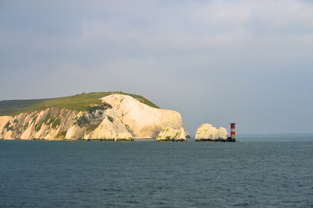 West High Downs, The Needles and the Needles Lighthouse, Isle of Wight, viewed from P&O's Adonia - 3