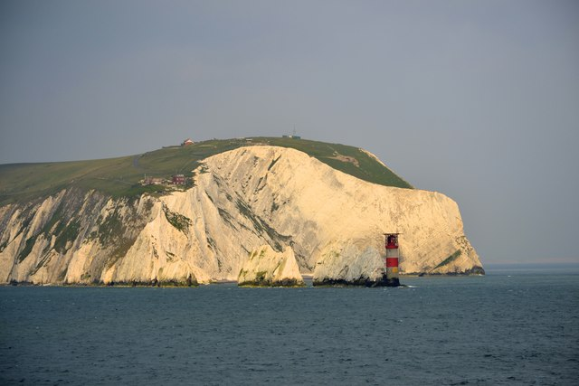 West High Downs, The Needles and the Needles Lighthouse, Isle of Wight, viewed from P&O's Adonia - 4