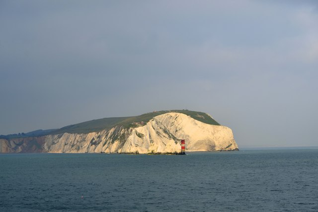 West High Downs, The Needles and the Needles Lighthouse, Isle of Wight, viewed from P&O's Adonia - 5