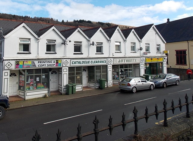 Row of white shops, Penrhiwceiber