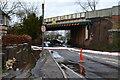 SU3521 : Temporary containment boom across Greatbridge Road by David Martin