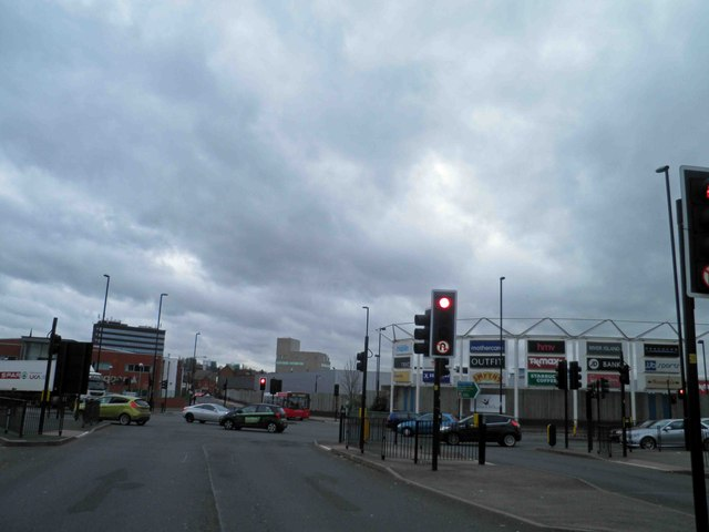 Junction Blue Lane (A34) with Blue Lane West, Walsall