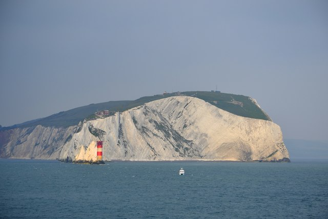 West High Downs, The Needles, the Needles Lighthouse and Fishing Boat, Isle of Wight, viewed from P&O's Adonia