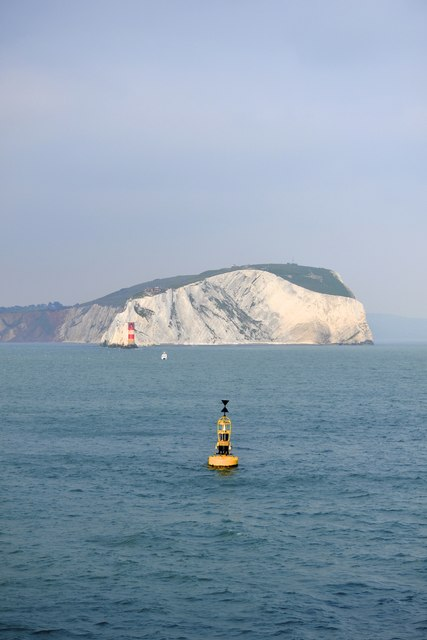 West High Downs, The Needles and the Needles Lighthouse, Fishing Boat and Buoy, Isle of Wight, viewed from P&O's Adonia