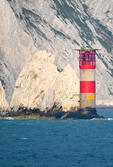 The Needles Lighthouse, off the Isle of Wight, viewed from P&O's Adonia