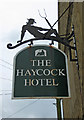 TL0799 : The Haycock Hotel (2) - sign, London Road, Wansford by P L Chadwick