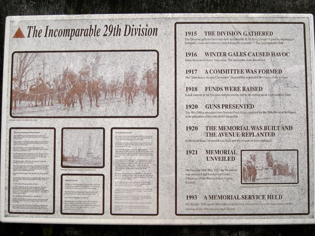 The Incomparable 29th Division information board