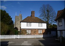 TR0653 : Clements Cottage and St Mary's Church tower, Chilham from The Square by Marathon
