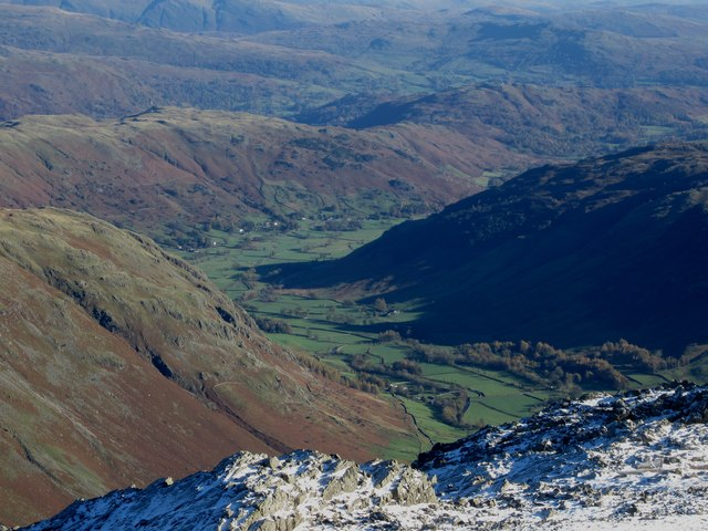View into Langdale from Bowfell