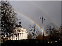 TQ2879 : London: double rainbow over Hyde Park Corner by Chris Downer