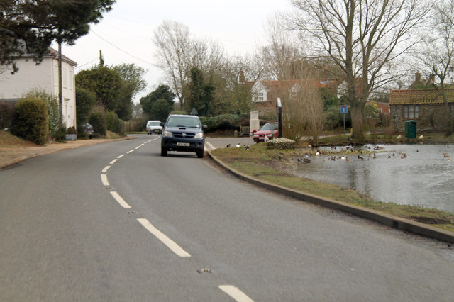 B1155 and duckpond at Stanhoe