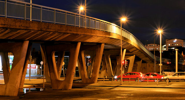 Station Street/Bridge End flyover (night view), Belfast - February 2014