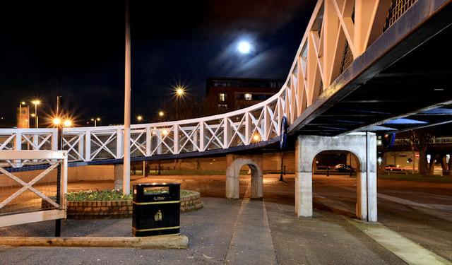 The Lagan Weir footbridge, Belfast (6) (night view)