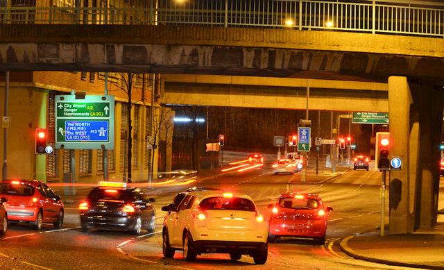 Station Street traffic lights, (night view), Belfast