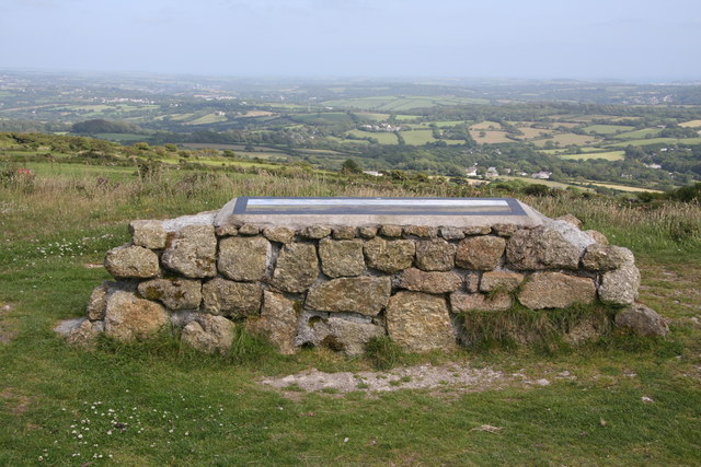 Panoramic sign near the summit of Carn Marth