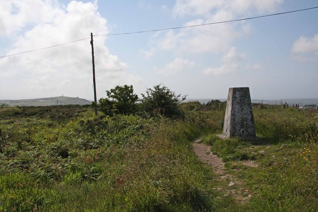Trig Point (235m) on the summit of Carn Marth