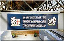 NT9953 : Berwick-upon-Tweed station, commemorative plaque by Ben Brooksbank