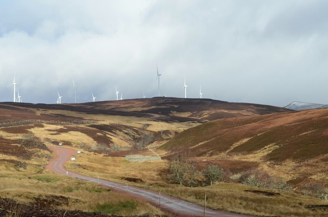 View up the Gordonbush Wind Farm Access Road