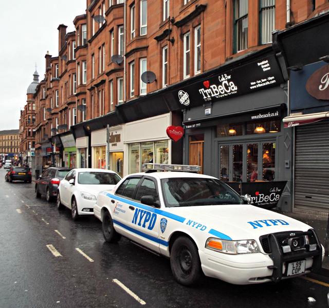 New York Police Department car on Dumbarton Road